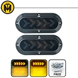 "TMH ( Pack of 2 ) 6"" 25 ARROW LED Surface Mount Oval Smoked Lens / Amber Light Turn Signal Side Marker Indicator Lamp Tail LED Light for Truck Trailer RV Bus 12V DC"