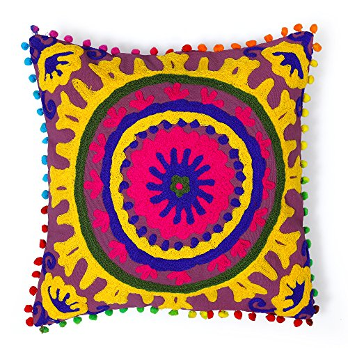 HANDICRAFT-PALACE Mandala Style Cushion Cover Hand Embroidered Floral Suzani Pillow Vintage Cotton Cushion Cover Indian Handmade Square Pillow Case 16