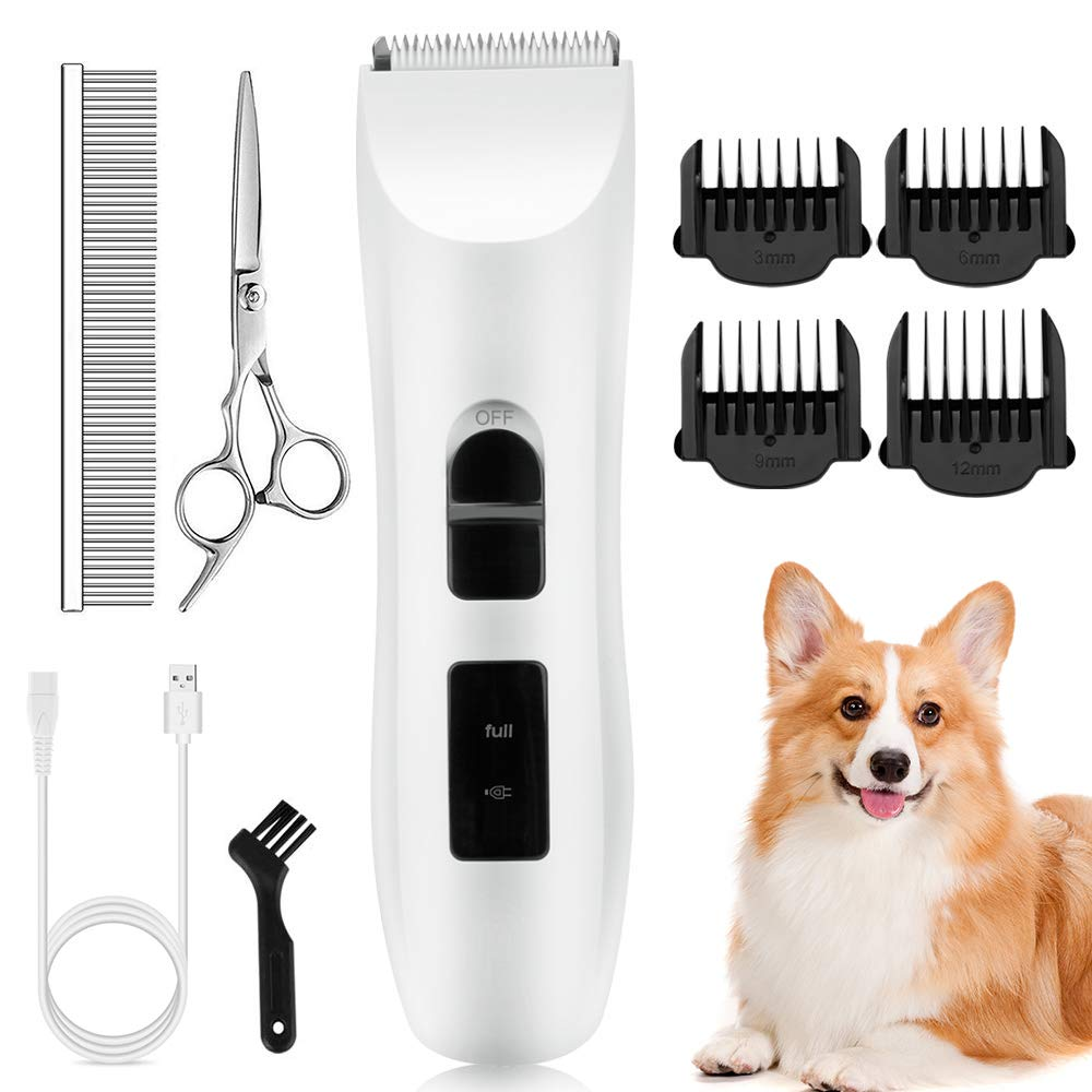 Nicewell Dog Clippers Cat Shaver, Low Noise Pet Grooming and Trimming Clippers Kit, USB Rechargeable Cordless Dog and Cat Grooming Set, Detachable Blade (Concise White) by Nicewell