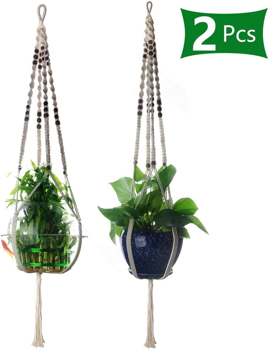 47Inch Macrame Plant Hangers Indoor or Outdoor, 2Pcs Cotton Hanging Planters Rope with Peaceful Beads for Indoor Plants, Succulents, Cacti, Herbs, Hanging Plant Holder Adapt to Large Size Flower Pots