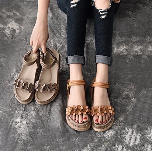 Color Thick Ladies Shoes Size 35 Magic Dream Roman Shoes Shoes Flat Elegant Stick Brown Toe Student Sandals Summer Exposed C8qwzZx6