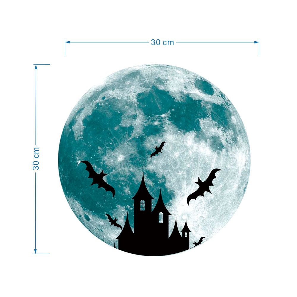 Pet1997 Luminous Lunar Wall Stickers, 3D Large Moon Fluorescent Wall Sticker, Removable Glow In The Dark Sticker (C)