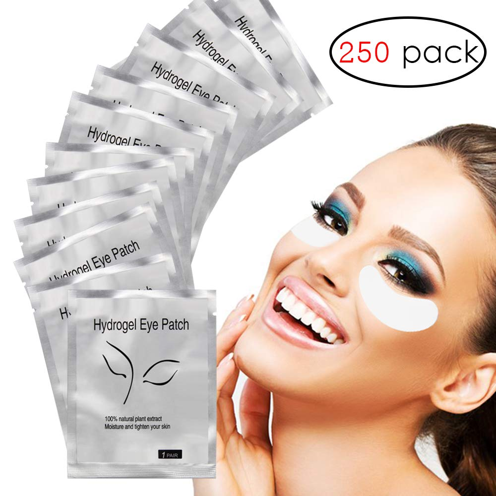 Adecco LLC 250 Pairs Set,Under Eye Pads,Lint Free Lash Extension Eye Gel Patches for Eyelash Extension Eye Mask Beauty Tool (250p)