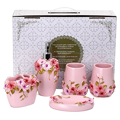Fuloon Country Style Resin 5pc Bathroom Accessories Set Soap Dispenser Toothbrush Holder Tumbler Soap Dish Pink