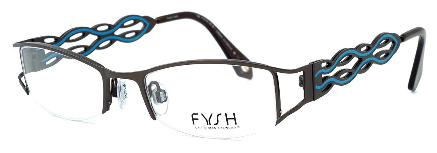 1b125c392f Amazon.com  Fysh Womens Designer Eyeglasses 3400 in Brown   Turquoise    DEMO LENS  Health   Personal Care