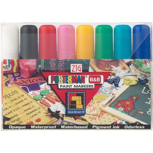 Marcadores de punta Posterman Zig de 15 milímetros, multicolor, paquete de 8