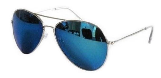 chaussures de sport 6a320 5a998 PURECITY© - Lunettes de soleil Aviateur - Pilote - Fbi - Monture argent -  Verre effet miroir bleu - Fashion tendance