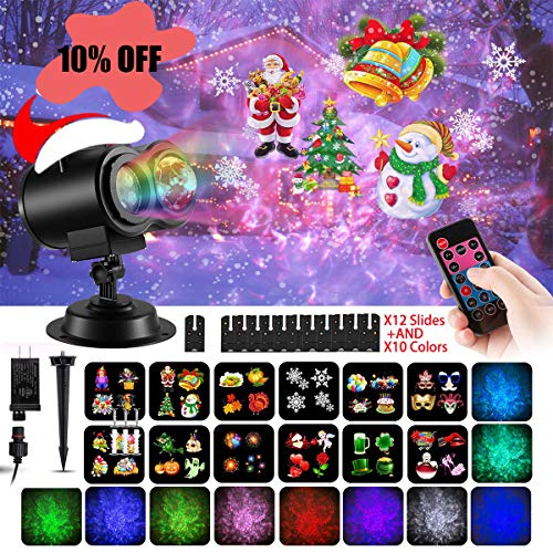 Christmas Projector Light Water Wave 2 in 1 LED Party Light with 12 Replaceable Patterns Slides Outdoor and Indoor Waterproof Decorative Lighting for Xmas Home Parties Halloween Birthday Yard Garden