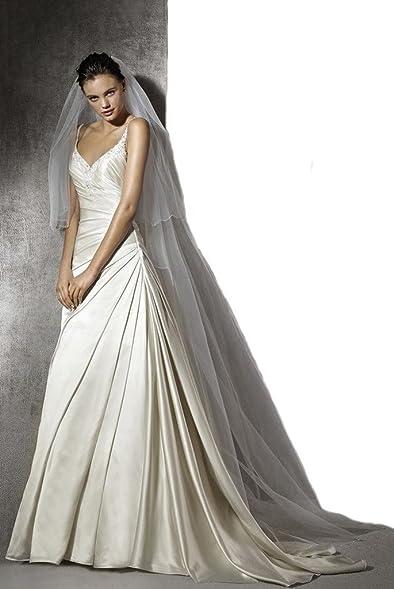 Gogh White NEW! Truly Zac Posen Seamed Satin Wedding Dress at Amazon ...