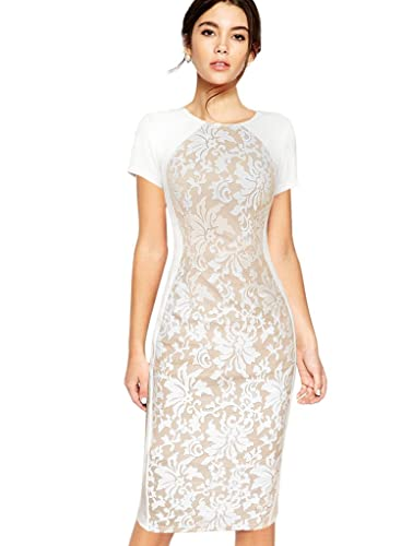 VfEmage Womens Elegant Mesh Embroidered Patchwork Party Bodycon Casual Dress