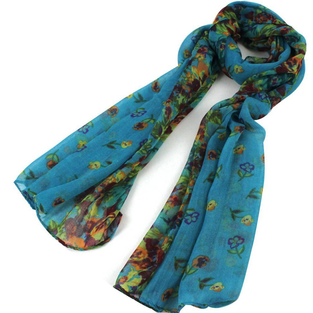 OUKIN Womens Colorful Floral Long Scarf Wraps Soft Scarves OUKIN00016