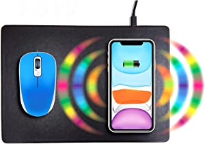Wireless Charger & Mouse mat '2 in 1', 15W/10W/7.5W/5W Charging for Qi Phones, Like iPhone & New AirPods, Samsung, Google, and More. No Support Apple Watch. (Black)