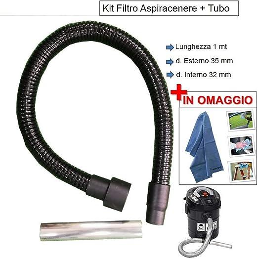 Lavor - Tubo de repuesto para aspirador de cenizas Hashley - Riu - Fridy - Pocker Kombo flexible + boquilla - de metal de 1 m: Amazon.es: Hogar