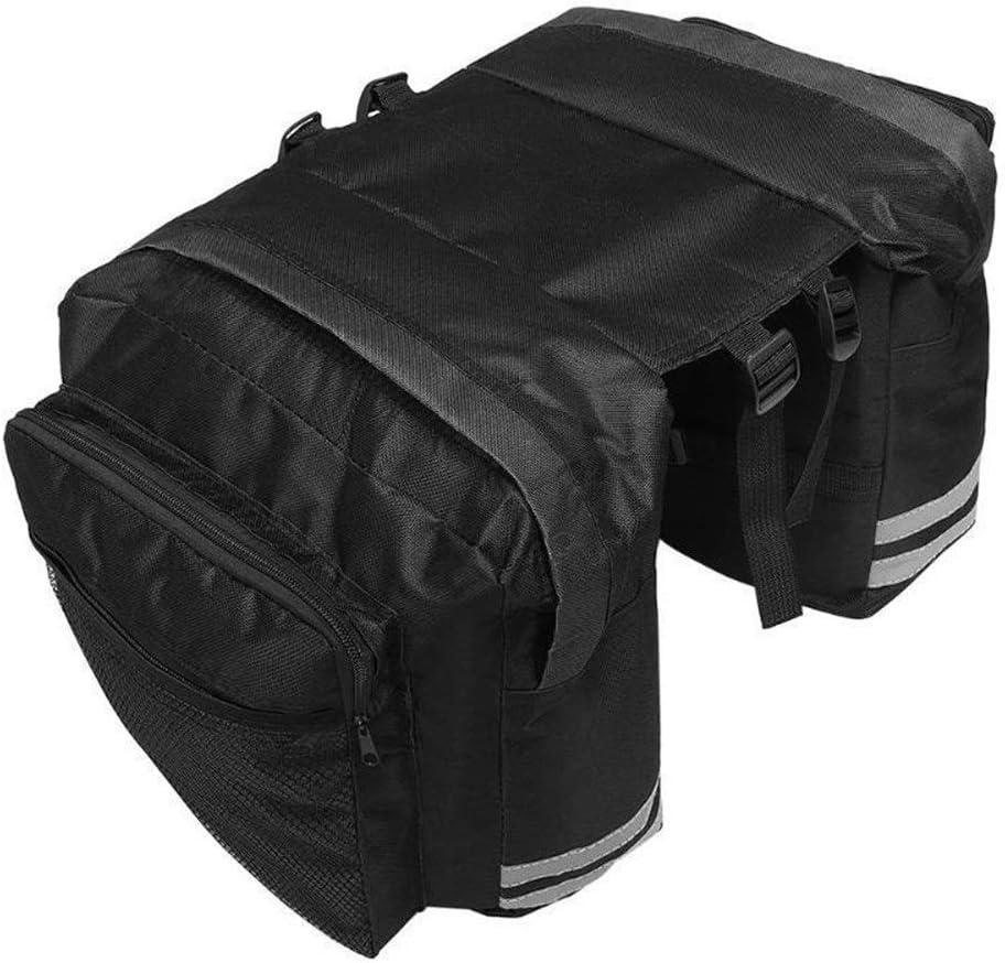 ZZYUBB Double Side Bike Rear Bag Fahrradtr/äger-Tasche PVC-Fahrrad-Gestell-Sitzbeutel Satteltasche Pouch Color : Black