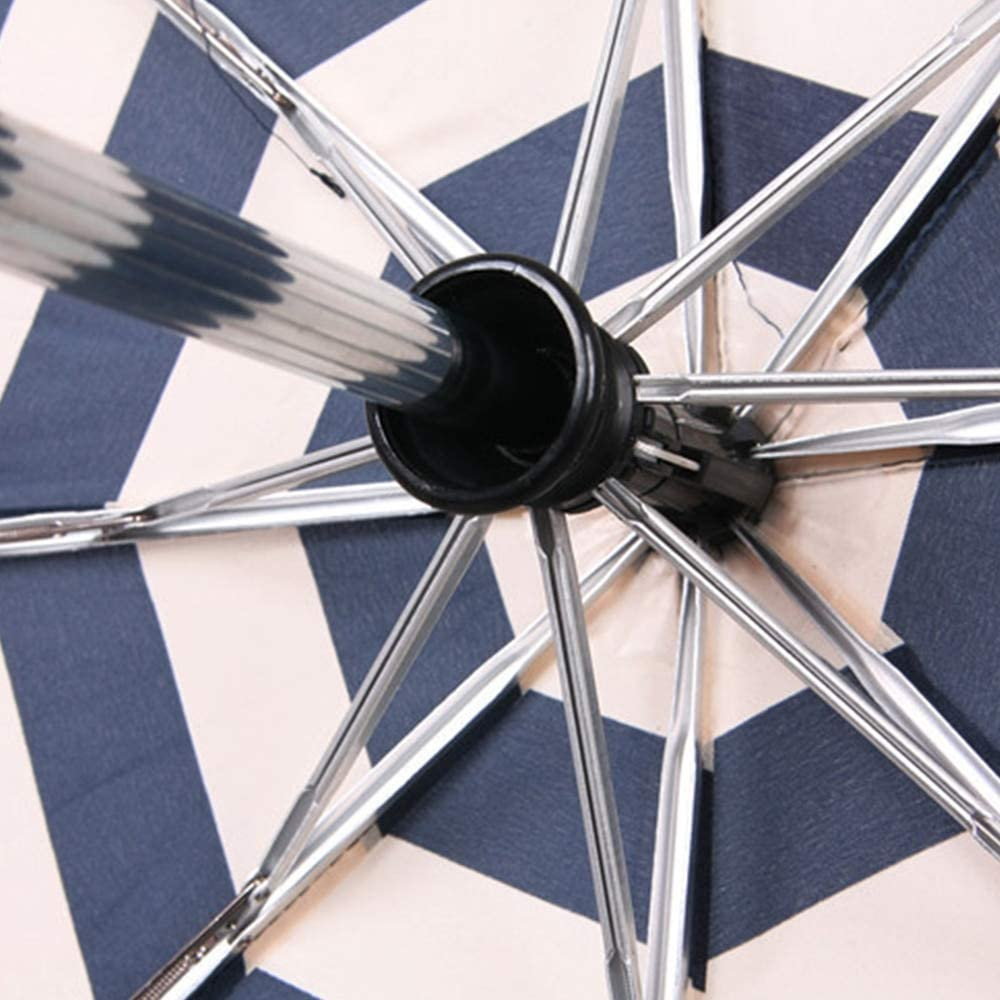 Xligo 3 Folding Navy Striped Pattern Automatic Umbrella Rain Aluminum Alloy Strong Windproof Umbrellas T20