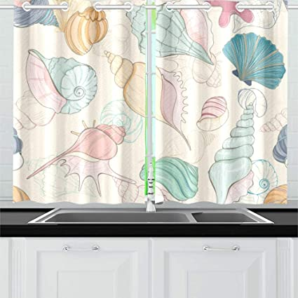 Qiaolii Summer Paradise Holiday Marine Seashell Kitchen Curtains Window Curtain Tiers For Café Bath Laundry Living Room Bedroom 26 X 39 Inch 2 Pieces Amazon Co Uk Kitchen Home