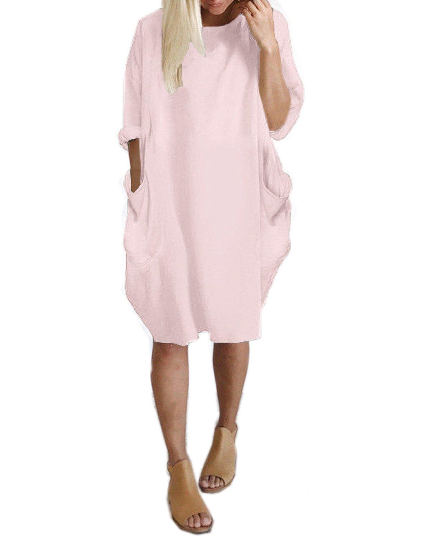 Kidsform Women Oversize Dress Long Sleeve Solid Loose Shirt Mini Short Dress With Pocket Light Pink XL