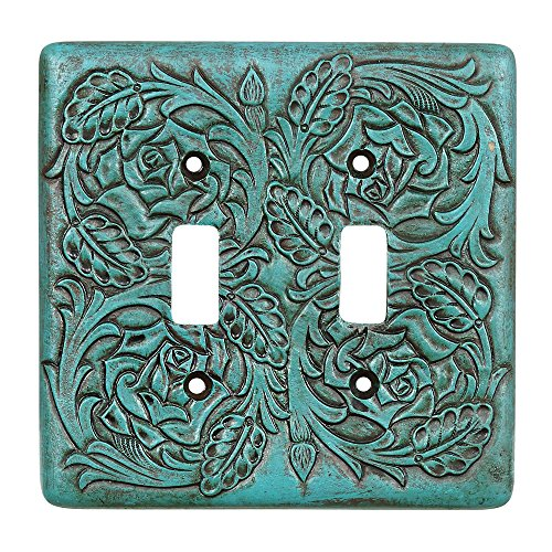 Turquoise Tooled Leather Southwestern Double Switch Plate - Rustic Decor