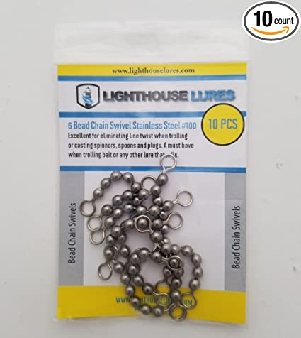 Amazon com : Lighthouse Lures 6 Bead Chain Swivel Stainless