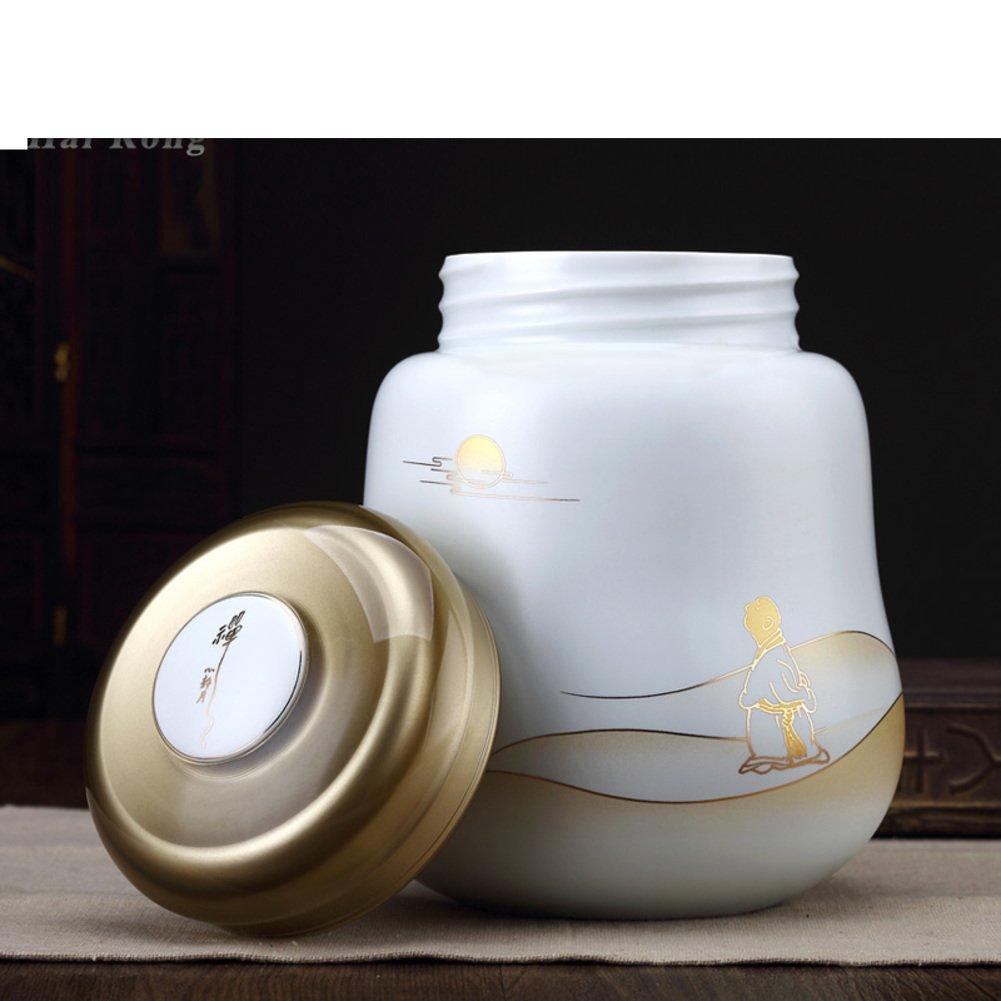 Porcelain Tea Container,Tea Caddy Storage,Tea tins containers Creative Seal Tea jar [Storage jar] Small Pot Tea Ceramic Tea Pot-A 15x16cm(6x6inch) Tea Storage Chests