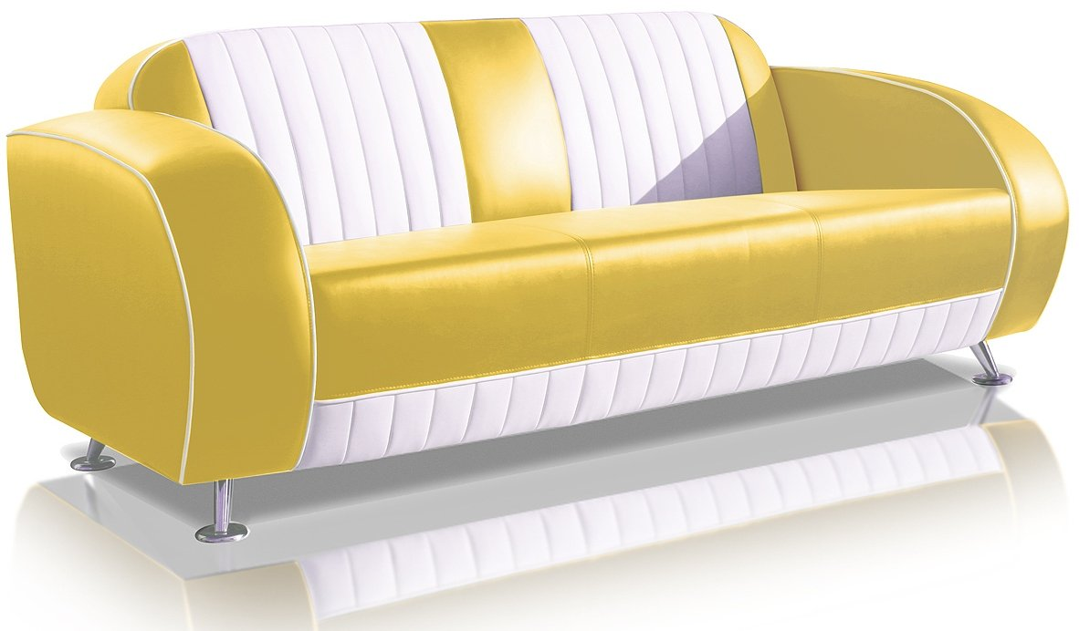 Sofa Dinersofa retro Style Couch Lounge Designer Sofa Wartemöbel (Yellow/White)