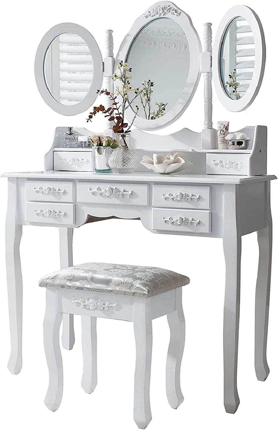 145cm x Merix White Dressing Table Wooden Dresser Organiser Furniture for Makeup /& Beauty Products - D 90cm x 7 Drawers with Handles Vintage Vanity Desk Set with Stool W 3 Mirrors 40cm H
