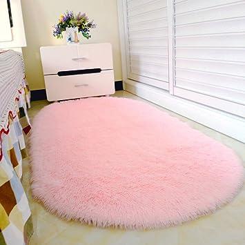 pingenaneer tapis de chambre super doux cheveux tapis long poil antidrapant forme ovale tapis de - Tapis Chambre