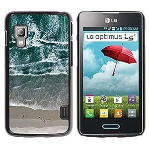 iKiki Tech / Estuche rígido - View Beach Waves Sand Sea - LG Optimus L5 II Dual E455 E460