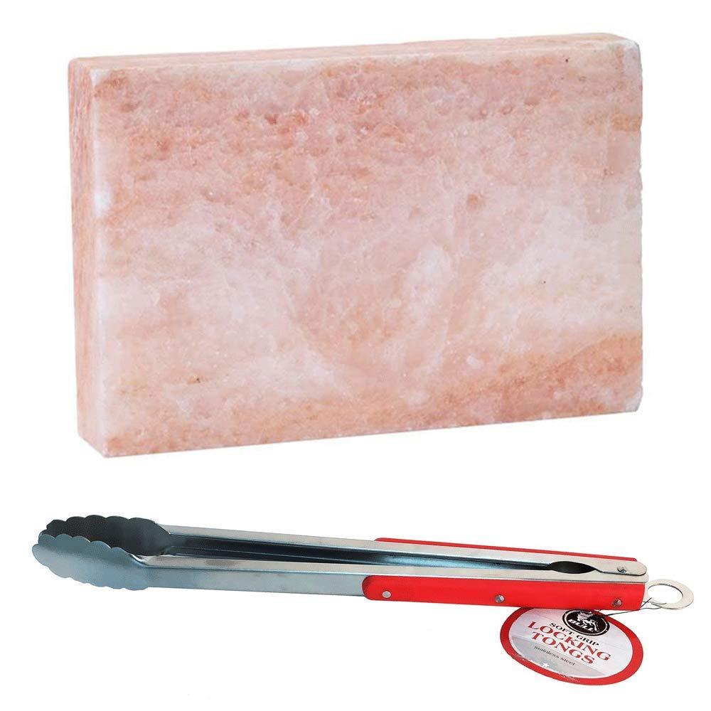 MRT SUPPLY Gourmet Himalayan Pink Salt Block & Avant Extra Long Handle Grilling Tongs with Ebook
