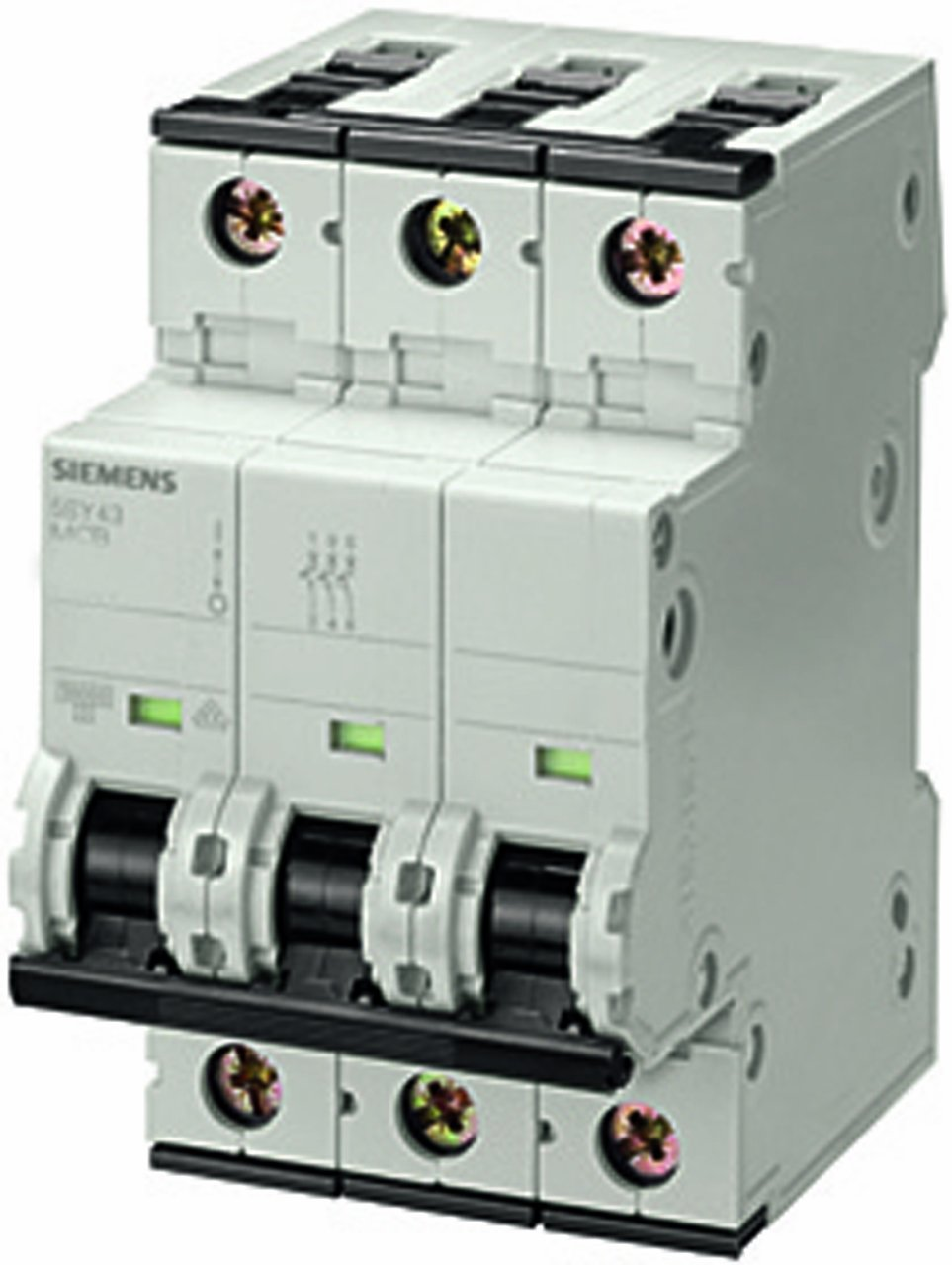 Siemens 5SY43165 Supplementary Protector, UL 1077 Rated, 3 Pole Breaker, 16 Ampere Maximum, Tripping Characteristic A, DIN Rail Mounted