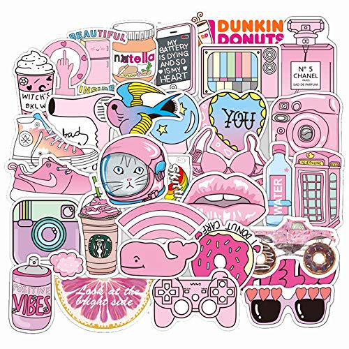 Laptop Sticker Pack(105-pcs),Sanmatic Pink Cute Stickers for Laptop Water Bottle Phone Bicycle Luggage Guitar Scrapbooking Planners Sticker Bomb Vinyl Decals Patches High Definition (Pink)