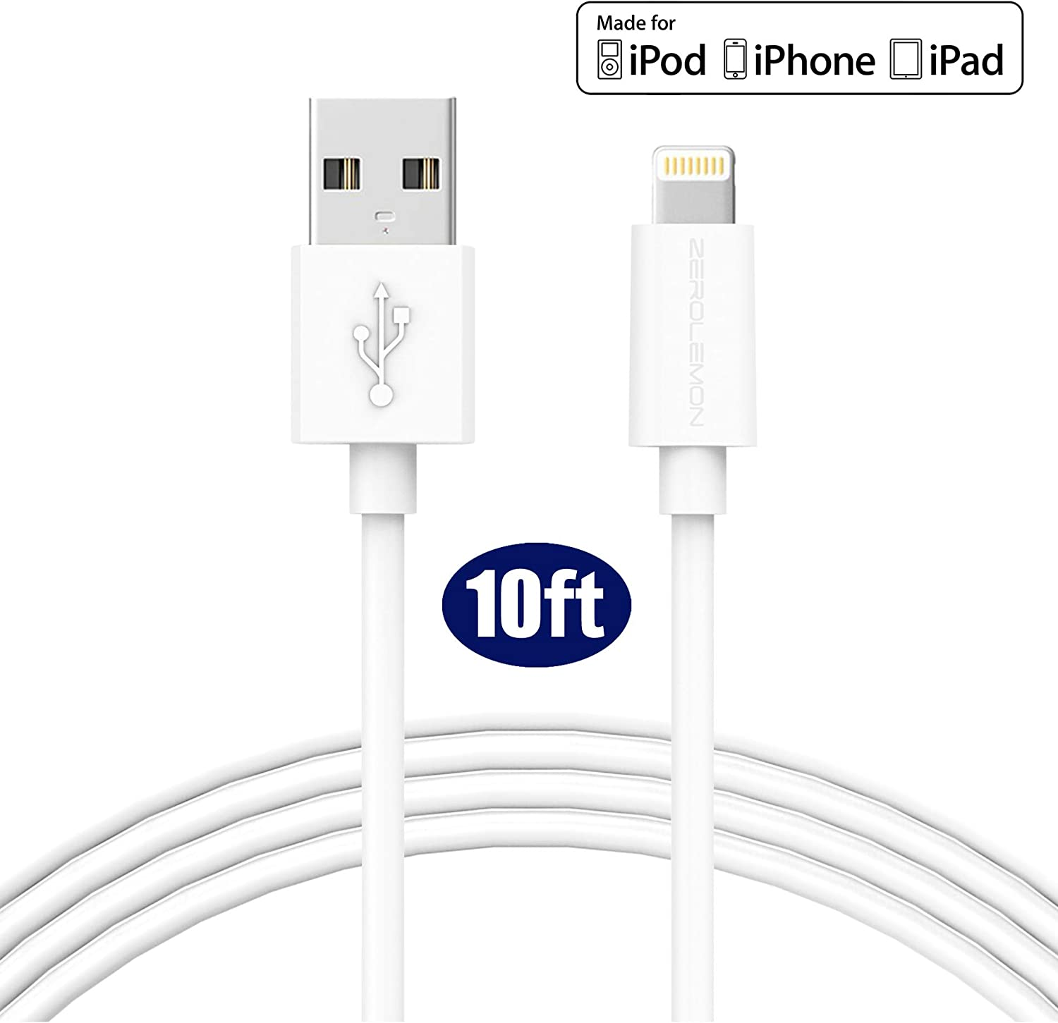 iPhone Charger [Apple MFi Certified], ZeroLemon USB to Lightning Cable 10 Feet / 3 Meter for iPhone 11/11 Pro/11 Pro Max/Xs/Xs Max/XR / X / 8 Plus, 10.2'' iPad 2019 and More - PVC White