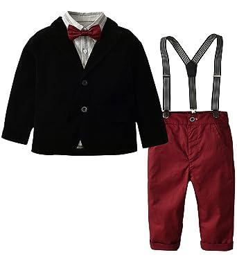 VEVESMUNDO Kinder Junge Smoking Anzug Set Bekleidungsset Jacke Weste Sakko  Latzhose Hemd Hochzeit Party Anzüge 90cm 820185406e