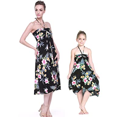 ed2624d170f0 Matching Hawaiian Luau Mother Daughter Butterfly Dress in Hibiscus Black S-2