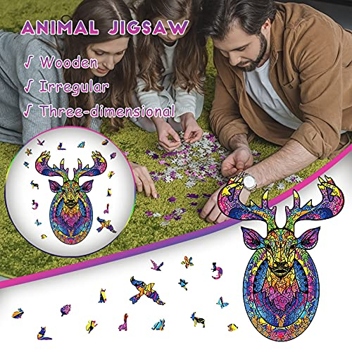 Wooden Puzzle Elaphurus DavidianusJigsaw, Wooden Puzzles for Adults,Best Gift for Adults and Kids, 200 Pieces Unique Shape Jigsaw Pieces Intergalaxy ,11.81x8.97in