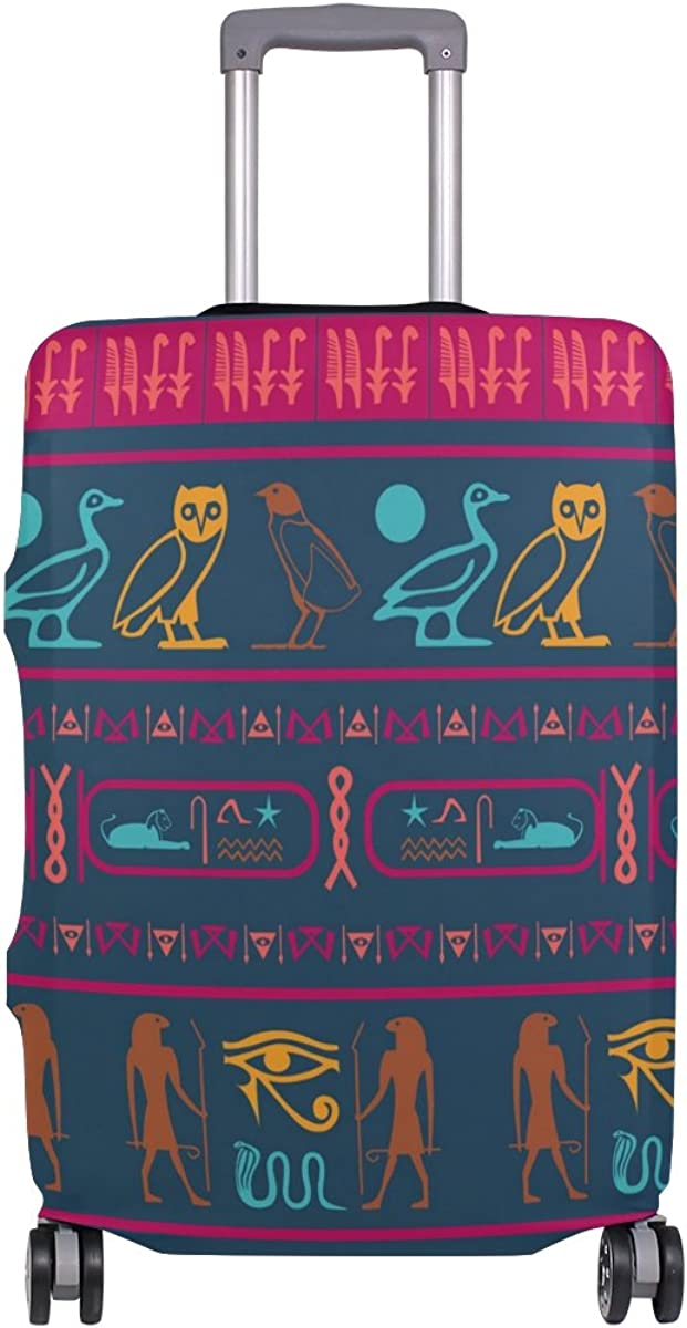 Elastic Travel Luggage Cover Creative Egypt Ethnic Symbols Suitcase Protector for 18-20 Inch Luggage