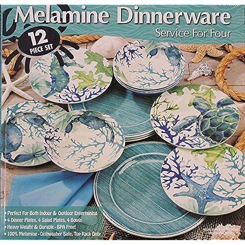 Melamine Blue/Green Sea Life 12-Piece Dinnerware set - 4 Dinner plates 4 Salad plates and 4 Bowls & Beach Dinnerware: Amazon.com