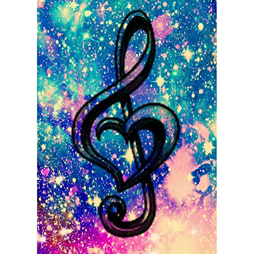 DIY 5D Diamond Painting by Number Kits, Crystal Rhinestone Diamond Embroidery Paintings Pictures Arts Craft for Home Wall Decor, Full Drill,Colorful Starry Sky Music Notation (J4916CSXKYF-11.8X15.7in)