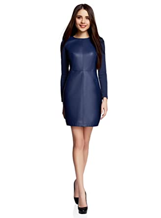 2cebf3d2dfb oodji Ultra Femme Robe Combinée en Simili Cuir  Amazon.fr  Vêtements ...