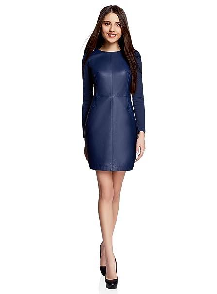 oodji Ultra Mujer Vestido de Piel Sintética Combinado, Azul, ES 38 / S