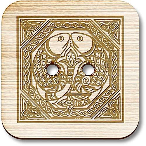 Azeeda 8 x 23mm 'Celtic Fish Motif' Square Wooden Buttons (BT00015212)