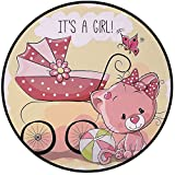 Printing Round Rug,Gender Reveal Decorations,Cute Kitten Baby Carriage Cat Kids Its A Girl Family Mat Non-Slip Soft Entrance Mat Door Floor Rug Area Rug For Chair Living Room,Light Yellow Pink