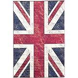 "ecarpetgallery 196374 Union Jack Rug Navy Blue, Red, 4'4""X 6'6"""