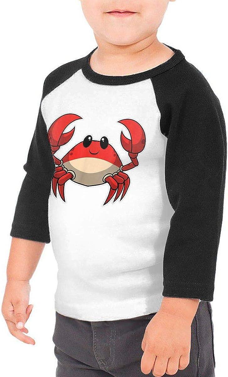 Crab Cute Kids Jersey Raglan T-Shirt Children 3//4 Sleeve Baseball Shirt Top