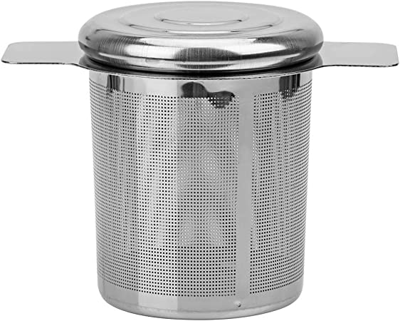 2 asas de t/é infusores cesta reutilizable fina malla colador de t/é tapa filtros de t/é y caf/é de acero inoxidable