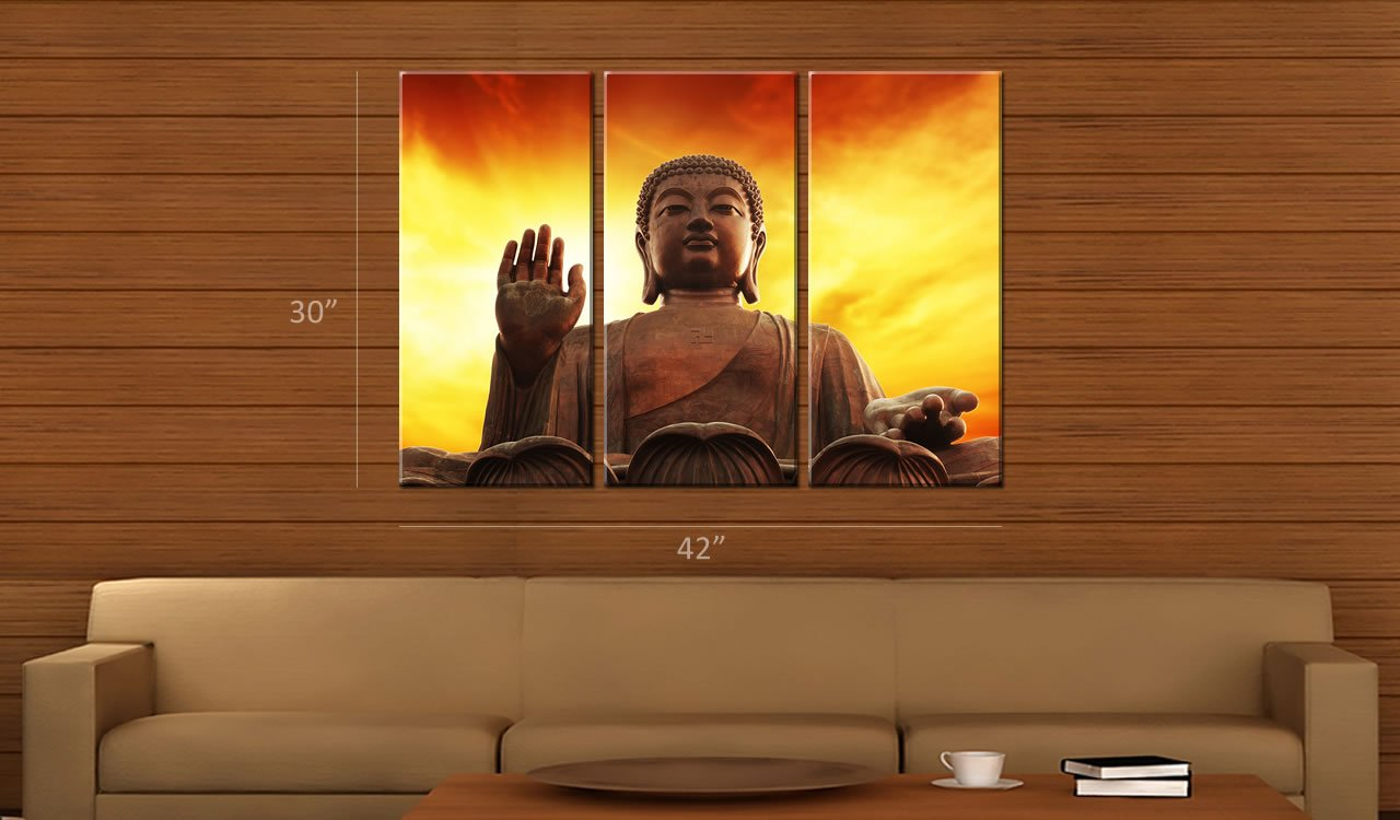 amazoncom picture sensations framed huge 3 panel modern spiritual art buddha giclee canvas art prints posters prints