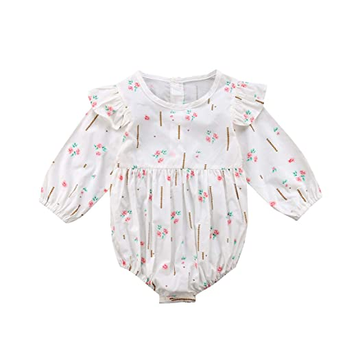 3ebae0d7226 Image Unavailable. Image not available for. Color  sweetyhouse Newborn Baby  Girls Long Sleeve Floral Bodysuit Infant Ruffle Fly Sleeve Romper Jumpsuit  One ...
