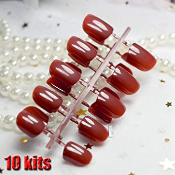 Amazon.com : 240Pcs False Nails Tips Short Full Cover Fake Artificial Nails Pure Candy Color Manicure Nail Tips Brown Shimmer Purple Red 10 sets same ...