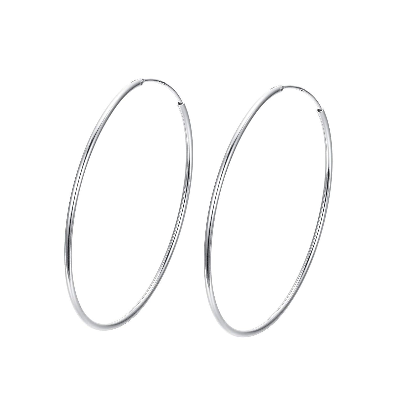 FANZE 925 Sterling Silver Circle Endless Hoop Earrings for Women Girls Diameter 20 30 40 50 60mm 19000521-1ca