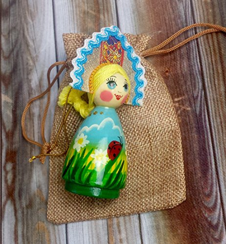 [Russian Hand-painted Hanging Ornaments - Folk Doll in Traditional Folk Costume - Each doll is unique - Folk Art -] (Lagoona Costumes)
